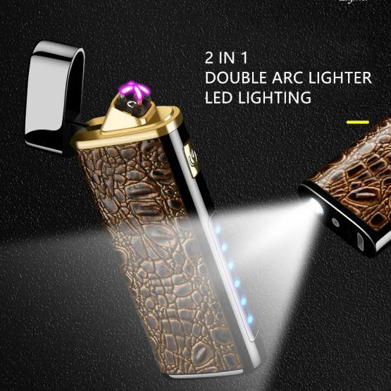 14170838331622107634 555x555 - Encendedor Electrónico de Doble Arco con linterna recargable