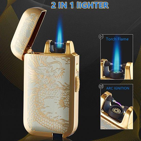 14559346811139626120 555x555 - Encendedor Lighter 2 En 1 Gas Y Arco De Plasma Recargable