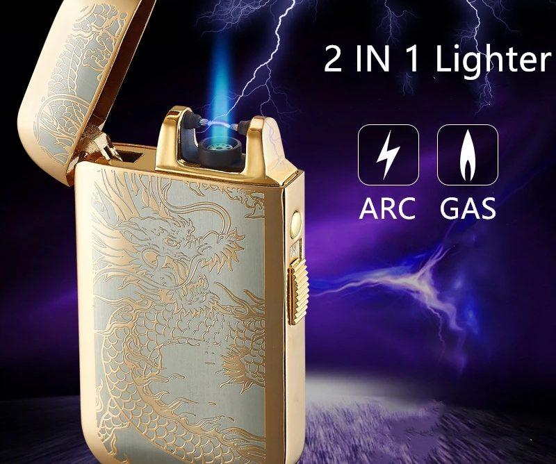 Encendedor Lighter 2 En 1 Gas Y Arco De Plasma Recargable