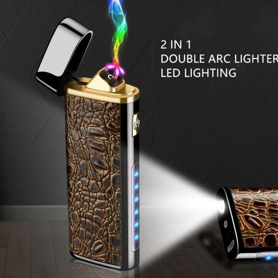 2395506431847432989 555x555 - Encendedor Electrónico de Doble Arco con linterna recargable