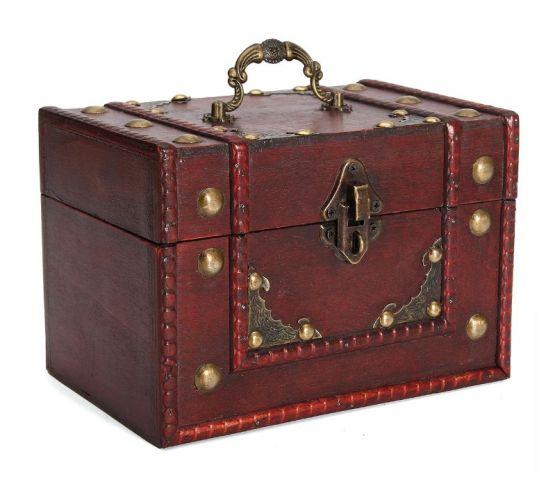 Caja almacenamiento vintage madera retro joyas joyeria cerradura 555x486 - Caja de Madera Roja Retro Vintage para almacenamiento y joyeria
