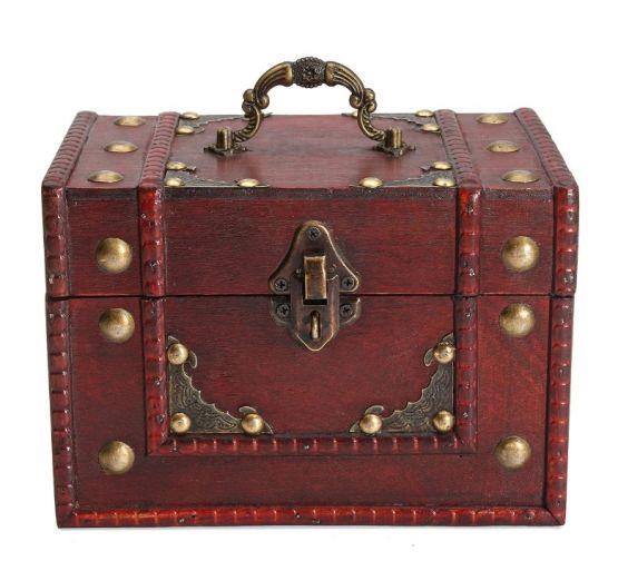 Caja almacenamiento vintage madera retro joyas joyeria cerradura 2 555x504 - Caja de Madera Roja Retro Vintage para almacenamiento y joyeria