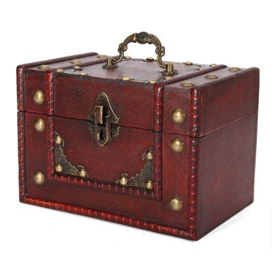 Caja almacenamiento vintage madera retro joyas joyeria cerradura 3 555x512 - Caja de Madera Roja Retro Vintage para almacenamiento y joyeria