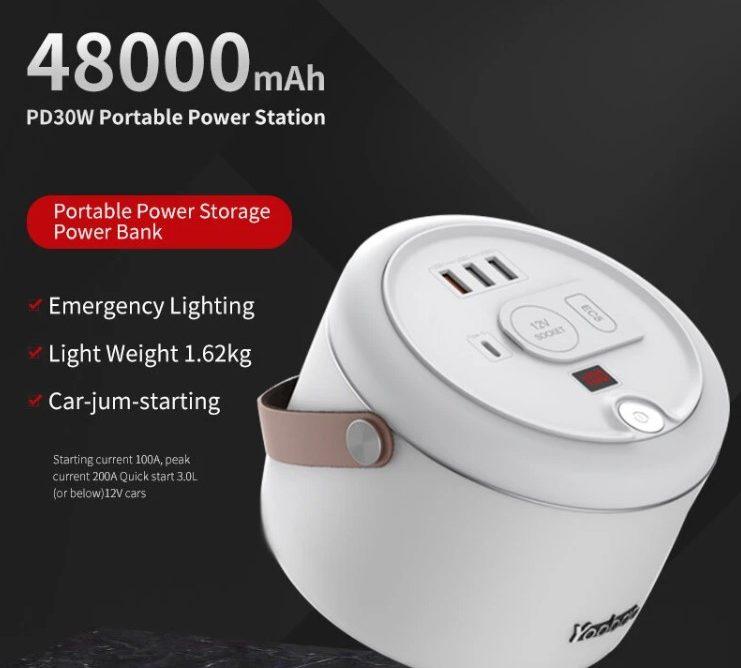 PowerBank Yoobao 153Wh 48000mAh Fuente de alimentacion con salida de CA de 150W / USB-C PD de 30W / USB QC3.0 de 18W / 2