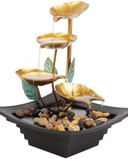 fuente hojas doradas 262x325 - Fuente de 4 niveles hojas doradas